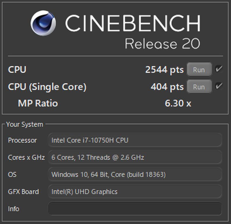 Alienware m15 R3のCINEBENCH R20のベンチマーク結果
