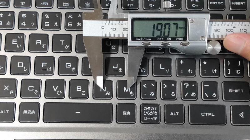 GALLERIA RL5R-G50Tのキーピッチ