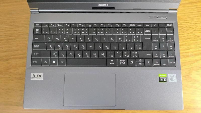 G-Tune E5-144のキーボードとタッチパッド