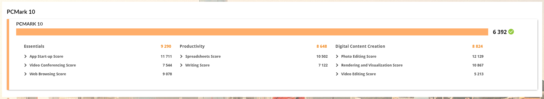 GALLERIA RM5R-R36のPCMark10のベンチマーク結果