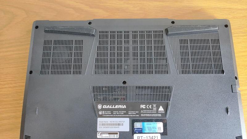 GALLERIA GCL1650TGFの背面のファン
