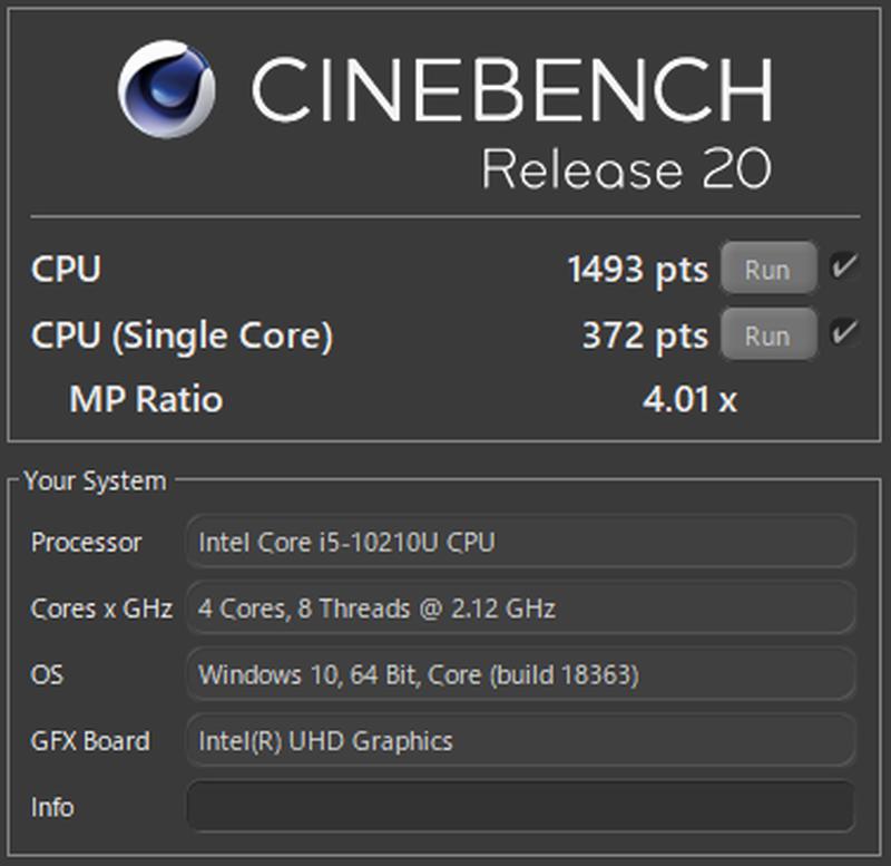 レノボ ThinkBook 15のCINEBENCH R20のベンチマーク結果
