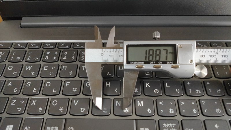 レノボ ThinkBook 15のキーピッチ