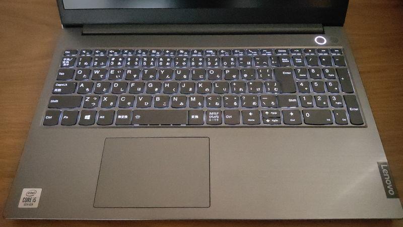 レノボ ThinkBook 15のキーボードのLED ON時
